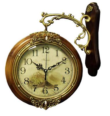 Оригинальные двусторонние часы на кронштейне