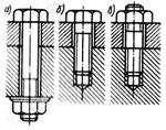 а) болт, б) винт, в) шпилька с гайкой